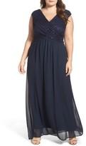 Sangria Plus Size Women's Lace & Chiffon Surplice Gown