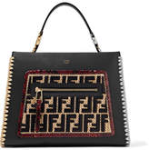 Fendi Runaway Small Python And Raffia-trimmed Leather Tote - Black