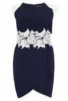 Quiz Curve Navy and Cream Crochet Trim Wrap Skirt Dress
