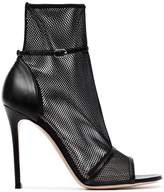 Gianvito Rossi Black Idol 105 Mesh Peep Toe boots