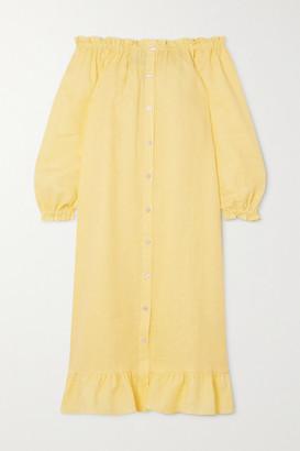 Sleeper Ruffled Linen Midi Dress - Yellow