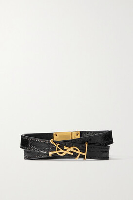 Saint Laurent Croc-effect Leather And Gold-tone Bracelet - Black