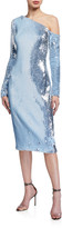 Badgley Mischka Sequin One-Shoulder Long-Sleeve Sheath Dress