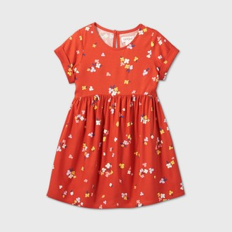 Cat & Jack Toddler Girls' Floral Short Sleeve Dress - Cat & JackTM Rust Orange