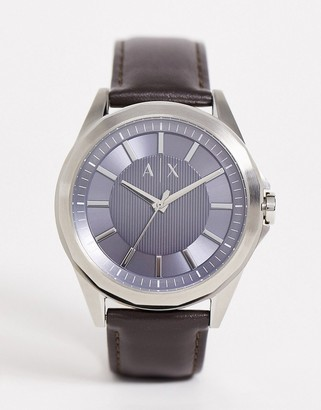 Armani Exchange mens leather watch in brown