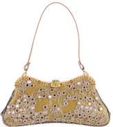 Valentino Lizard-Trimmed Embellished Evening Bag