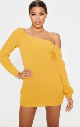 PrettyLittleThing Black Off The Shoulder Knitted Jumper Dress