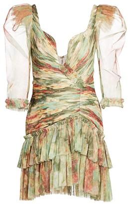 Raisa Vanessa Floral Ruched Sheer Puff-Sleeve Bodycon Dress