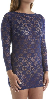 Dreamgirl Women's Plus-Size Stretch Lace Bateau Neckline Long Sleeve Sexy Tunic