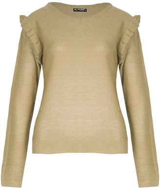 Fashion Star Womens Ladies Knitted Peplum Ruffle Frill Sleeve Round Neck Sweater Jumper Top