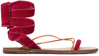Valentino Leather-trimmed Velvet Sandals