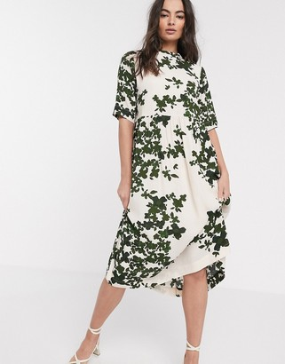 Ichi printed midi dress