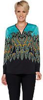 Bob Mackie Bob Mackie's Paisley Print Woven Blouse w/Zipper Neck