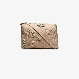By Walid beige tapestry embroidered cotton messenger bag