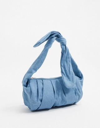 Glamorous unstructured satin knot handle baguette grab bag in denim