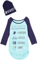 Beautees Blue 'Dear Santa' Raglan Tee & Beanie - Girls