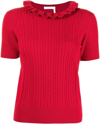 See by Chloe Ruffle-Neck Knit Top