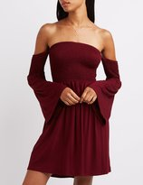Charlotte Russe Smocked Off-The-Shoulder Dress