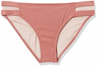 Mae Amazon Brand Women's Swimwear Marley Double Strap Hipster Bikini Bottom Deep Annie Large