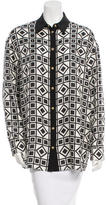 Fausto Puglisi Silk Printed Button-Up Top w/ Tags