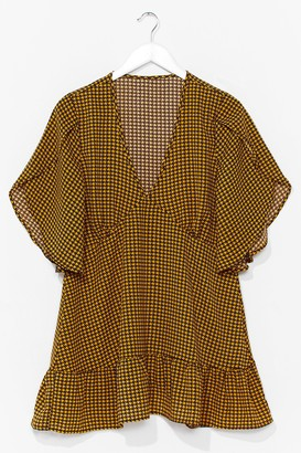 Nasty Gal Womens Gingham Your Attention Ruffle Mini Dress - Yellow
