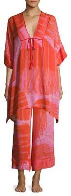 Josie Natori Manila Bay Patterned Silk Caftan