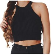 Simplee Apparel Women's Off Shoulder Knitted Bustier Crop Top Beach Camis Wine
