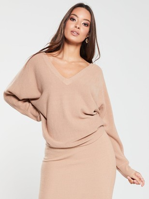 Very Ribbed BatwingCo-ord Jumper - Camel