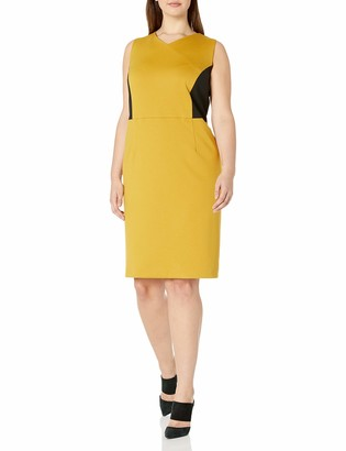 Kasper Women's Sleeveless V-Neck Ponte Sheath Dress