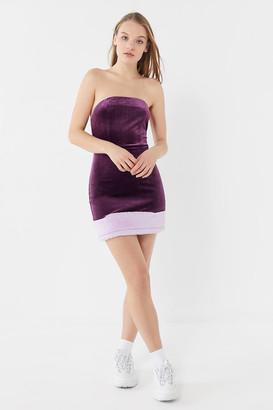 Urban Outfitters Velvet Faux Fur Trim Strapless Mini Dress
