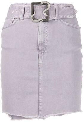 Just Cavalli Belted Raw-Edge Denim Skirt