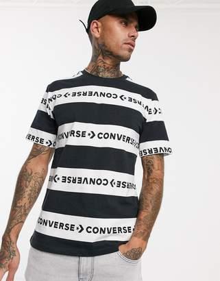 Converse Stripe wordmark T-shirt in black