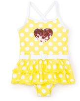 Pink Platinum Yellow & White Polka Dot Skirted One-Piece - Girls