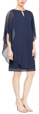 SL Fashions Embellished Sheath Dress With Chiffon Overlay