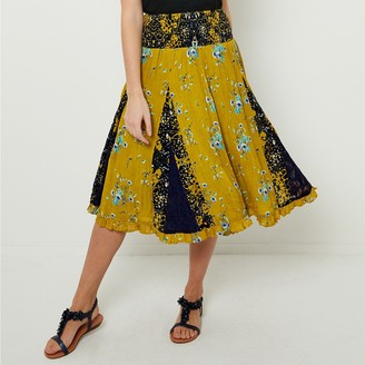 Joe Browns Floral Print Flared Skirt with Elasticated Waist