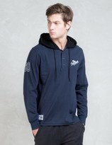 The Hundreds Blue L/S Bench Hooded Henley