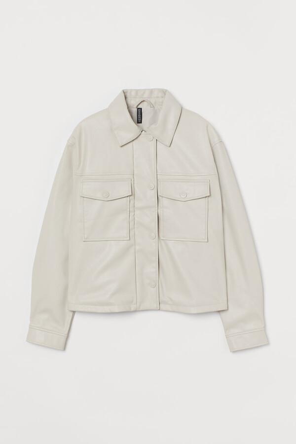 H&M Crop Faux Leather Jacket - Beige