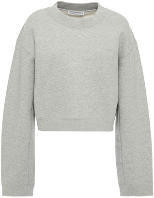alexanderwang.t Cropped Melange Cotton-fleece Sweatshirt