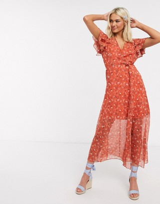 French Connection floral wrap maxi dress