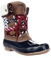 Khombu Jenna Fleece Lined Mid Calf Winter Boots, Navy/tan.
