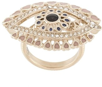 Chanel Pre Owned Crystal-Embellished Eye Ring