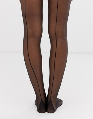 Gipsy french back seam tights-Black
