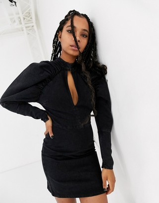 ASOS DESIGN denim mini dress with puff sleeve in washed black