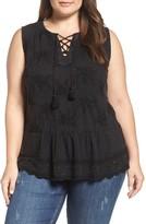 Lucky Brand Plus Size Women's Embellished Lace-Up Cotton Peplum Tank