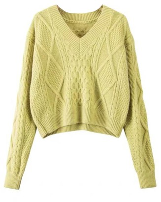 Goodnight Macaroon 'Kara' V-Neck Cable Knit Sweater (3 Colors)