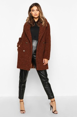 boohoo Double Breasted Bonded Faux Fur Teddy Coat