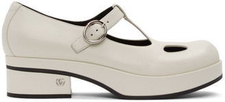 Gucci White Mary Jane Low Heel Loafers