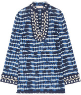 Tory Burch Tory Embellished Tie-dyed Cotton-voile Tunic - Blue