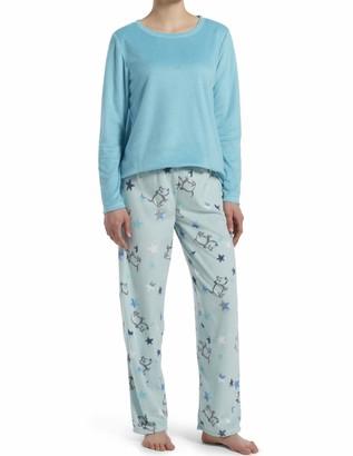 Hue Women's Sueded Fleece Long Sleeve Tee and Pant 2 Piece Pajama Set