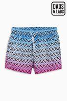 Next Blue/Pink Zig Zag Print Swim Shorts